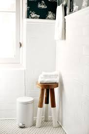 Bathrooms:Cozy Bathroom With Wooden Bathroom Bench Seat And Stools Under  Modern Towel Hanger White