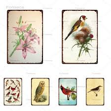 2021 bird flower metal sign retro