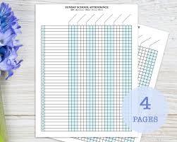Sunday School Attendance Chart Free Printable Sunday School Attendance Sheet With Birthday Tracker Record