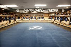example of commercial sheet vinyl flooring in the tampa bay lightning locker room