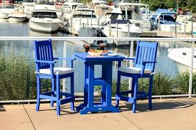 counter height patio table bar height patio furniture with blue chairs and small table outdoor bar counter height patio table