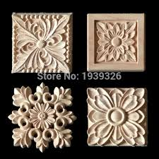 wooden appliques for furniture. New 1 Pcs Flower Wood Carving Natural Appliques For Furniture Cabinet Unpainted Wooden Mouldings Decal