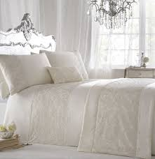 zigguo 3 pc luxury cotton duvet cover set embroidered king size 104 x 90 with pillowcase ivory color
