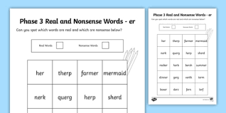 A collection of english esl worksheets for home learning, online practice, distance learning and english classes to teach about phonics, phonics. Phase 3 Er Colour By Phoneme Real And Nonsense Words Worksheet Worksheet