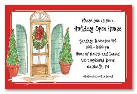 Christmas Open House Invitation Traditional Holiday Open House Personalized Christmas Party