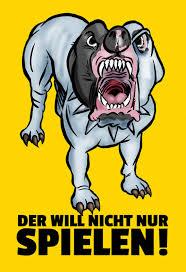 Der Will Nicht Nur Spielen Blechschild Lustig Comic Hund