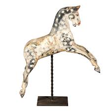 english painted wooden horse sculpture