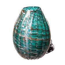 hand blown lighting. TURQUOISE AND WHITE HAND BLOWN GLASS LAMP Hand Blown Lighting