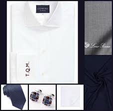 SHIRT/TIE COMBO: Ledbury(Shirt)-John Varvatos(Tie)-. Navy Blue ...