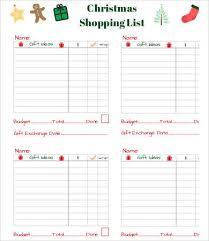 Printable Christmas Gift List Template Printable Shopping List Template 9 Free Word Excel Pdf