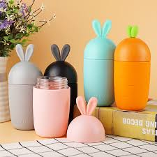 300ml cartoon rabbit shape glass water bottle kids cute silicone sleeve children leak proof drinking tumbler