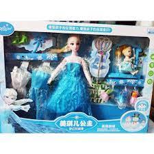 Búp bê công chúa Frozen với quyền trượng - Nữ hoàng băng giá Elsa và em bé  có thể thay đổi trang phục và phụ kiện