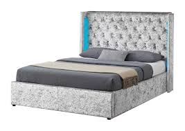 Double Bed Led Light Kamco Direct Drogo Silver Crush Velvet Led Light Wingback Bed Ottoman Storage With Diamante Buttons Remote Control Double 4ft 6