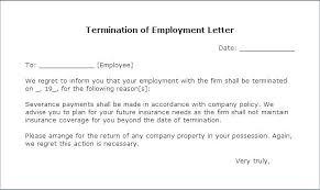 Employee Termination Letter Template Sample Employee Termination