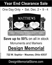Design Memorial Maumee Ohio Year End Clearance Sale Design Memorial Stone