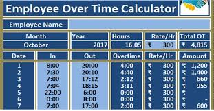 Payroll Time Calculator Download Employee Over Time Calculator Excel Template Hr