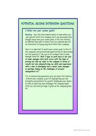 Questions For Second Interview Second Interview Questions Worksheet Free Esl Printable Worksheets