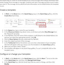 Create Outlook Message Template Office 365 Outlook 2013 2016 For Win Using Quick Steps To