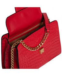 more views margot crocodile embossed red leather shoulder bag