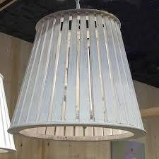 large distressed white slatted pendant chandelier