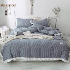 blue stripe bedding with ruffles kids sheets soft bedsheets quilt duvet cover pillowcase with ruffles teen bedding dams 5 gingham bedding bedding from