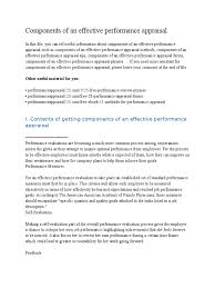 Components Of An Effective Performance Appraisal Performance