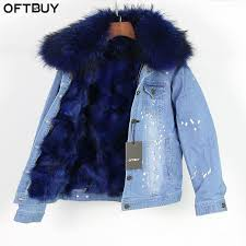brand 2017 autumn winter jacket coat women holes denim jacket real large rac fur collar and real fox fur thick warm liner leather er jackets jackets
