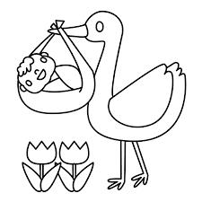 Leuk Voor Kids Een Ooievaar Met Een Babytje