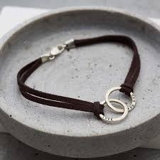 personalised men s double hoop leather bracelet previous