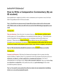 comparative commentary tips essays narration
