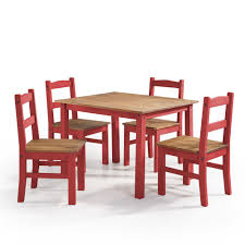 red wood dining chairs. Manhattan Comfort York 5-Piece Red Wash Solid Wood Dining Set With 1-Table Chairs R