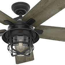 outdoor ceiling fans. Hunter Fan 54\u0026quot; Weathered Zinc Outdoor Ceiling With A Clear Glass LED Light Kit Fans