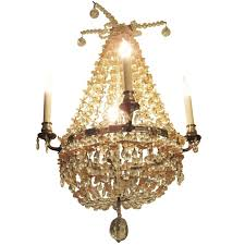 1930s pink and clear crystal beaded basket four arm chandelier