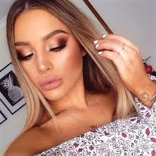 copper smokey eye eyeshadow blonde hair off the shoulder top you can copper eye makeupprom makeup brown