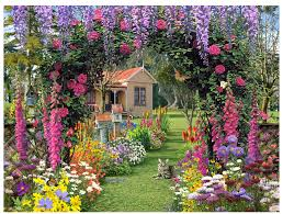 garden puzzle. enchanting colorful gardens   required no batteries cottage garden puzzle
