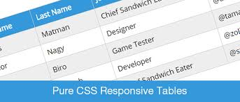 table design css. Pure Css Responsive Table Design