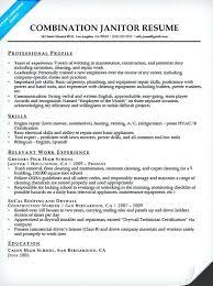 Sample Janitor Resume Janitor Combination Resume Sample School