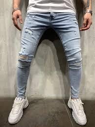 Light Blue Jeans Streetwear Light Blue Ripped Jeans Slim Fit Mens Jeans Ay447 Streetwear Mens Jeans