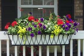 Window boxes, Flower boxes, Exterior shutters, Hanging Baskets, Planters  and Faux Balconies
