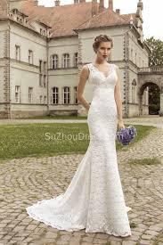 vintage lace sheath appliques bridal dress 2017 court train v neck