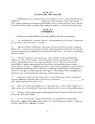 Limited Partnership Agreement Template General Partnership Agreement California Template Sample General