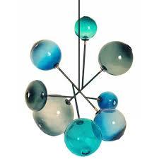 sklo pivot blue blown glass chandelier 14791
