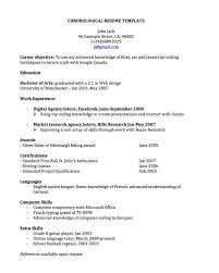 Resume Format Template Sample Chronological Resume Template Standard Chronological Resume 3