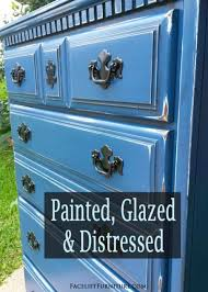distressed blue furniture. Chest Of Drawers In Distressed Denim Blue And Black Glaze - DIY Inspiration From Facelift Furniture