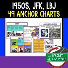 American History Anchor Charts 1950s Jfk New Frontier Lbj
