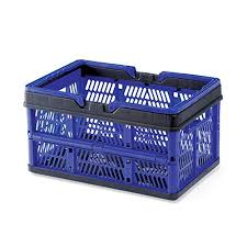 <b>Collapsible Plastic Storage</b> Crate with Folding Handles, Easy Store ...