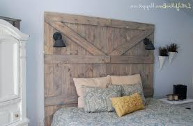 Old Barn Door Headboard White Shade Table Lamp Brown Laminate ...