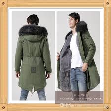 new european men s hooded coat in the long green army jacket army green warm long coat male black collars rabbit fur mens fall coat coat clothing from