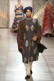 Designer Kurta For Groom Rimple And Harpreet Narula Mens Couture Blue Sherwani