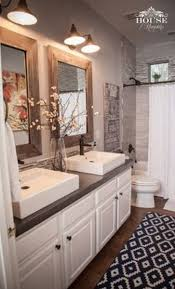Urban Farmhouse Master Bathroom Remodel ideas ; Wood framed mirror ...